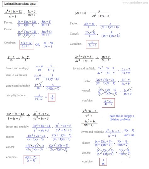 algebra 2 solving rational equations worksheet answers