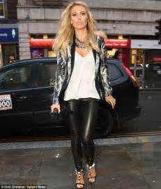 Alex Gerrard flaunts her pins in form-fitting leather trousers as she heads out on the town with ...