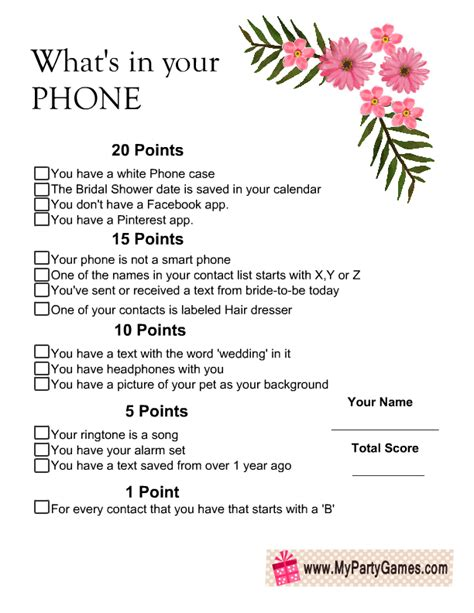 what s your phone what s in your phone bridal shower