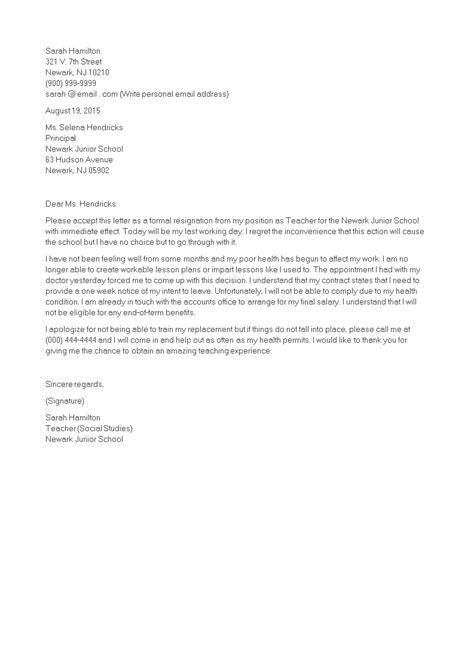 Teacher Immediate Resignation Letter   Templates at allbusinesstemplates.com