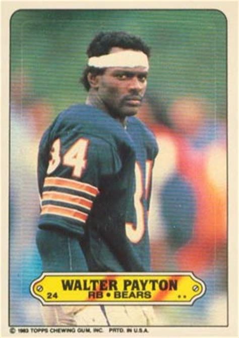 topps sticker walter payton  football card