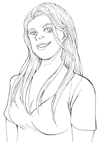 smiling woman coloring page  printable coloring pages