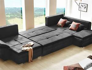Sofa U Form Klein : wohnlandschaft sarab schwarz 395x210 cm u form schlafsofa couch sofa wohnbereiche wohnzimmer ~ Bigdaddyawards.com Haus und Dekorationen