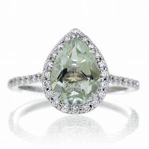 14k white gold pear cut green amethyst engagement ring With green amethyst wedding ring