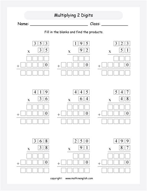 multiplication remedial activity multiply numbers