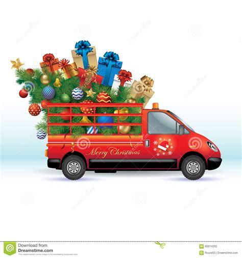 auto mit weihnachtsbaum vektor abbildung bild 60614202
