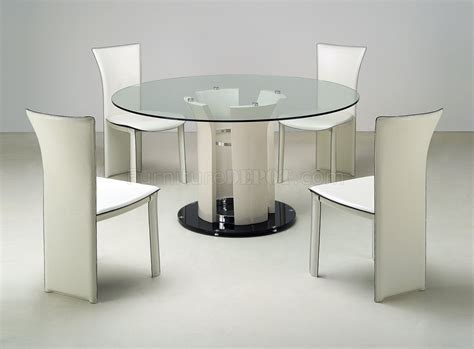 Clear Round Glass Top Modern Dining Table w/Optional Chairs
