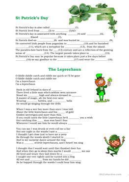 esl leprechaun worksheets