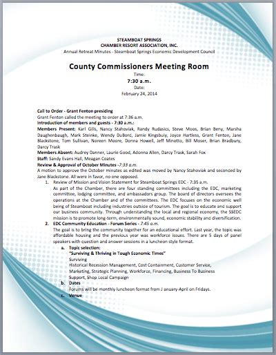 corporate annual meeting minutes sample printable meeting agenda templates