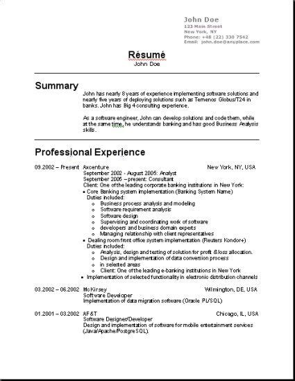 Sle Resume Format For Usa by In Usa 3 Resume Format Sle Resume Format Resume