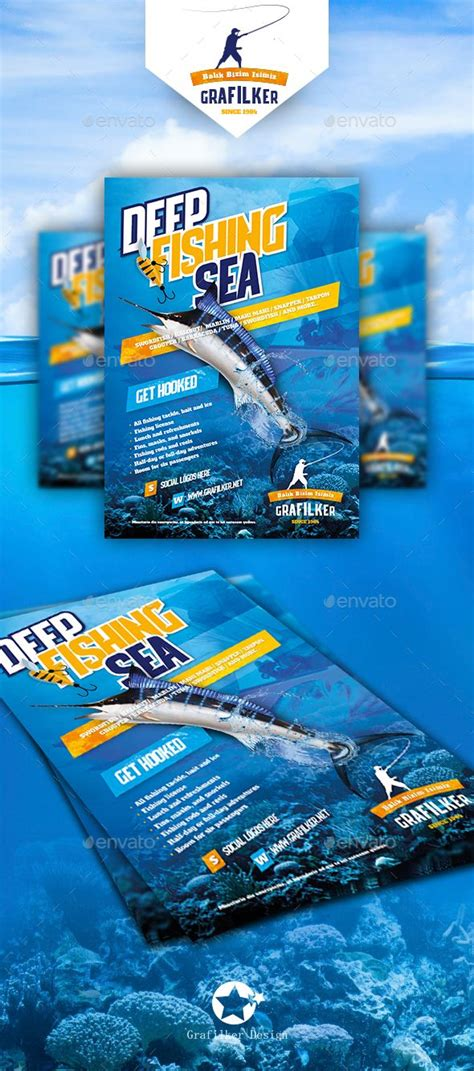 fishing flyer templates boats lakes  colors