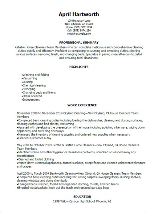 clean resume professional house cleaners team members resume templates to showcase your talent myperfectresume
