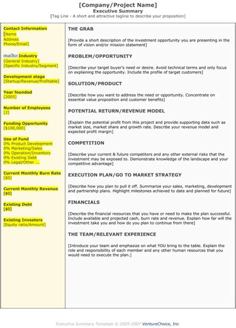 executive summary templates  examples  samples
