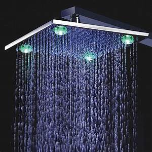 10 Inch Chromed Brass Square Shower Head With 4 LED Lights