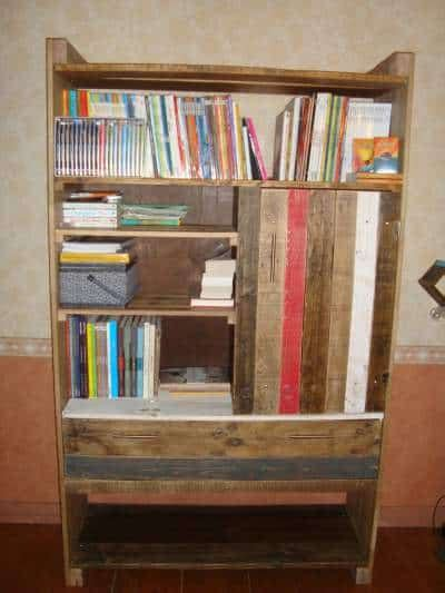 bibliotheque en palette pallets bookshelf  pallets