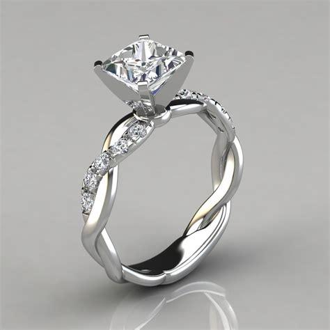 twist princess cut engagement ring forever moissanite