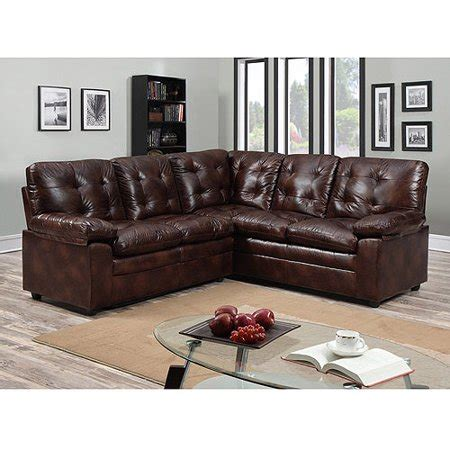 Buchannan Faux Leather Loveseat by Buchannan Faux Leather Corner Sectional Sofa Chestnut