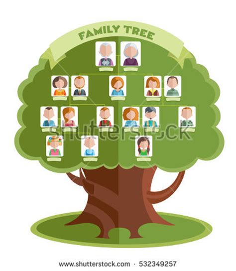 Family Tree Images Family Tree Template Portraits Relatives Place Stock