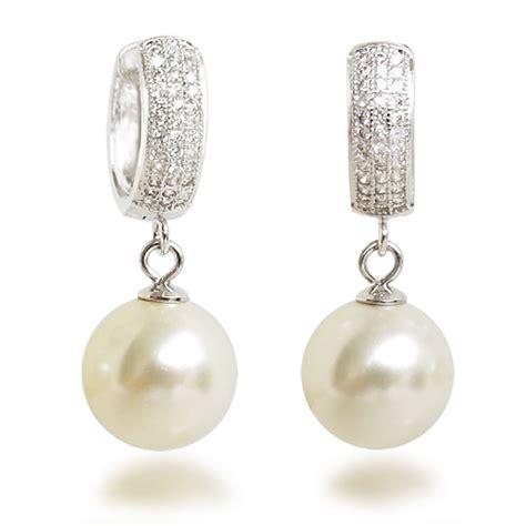 Solide Creolen Mit 12mm Großen Synth Perlen, Ohrringe 925