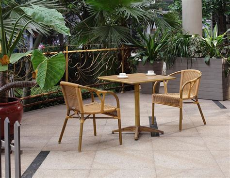 outdoor garden furniture bamboo rattan cafe table and