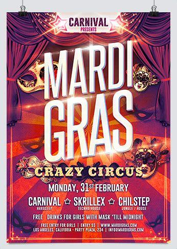mardi gras crazy circus party flyer hollymolly