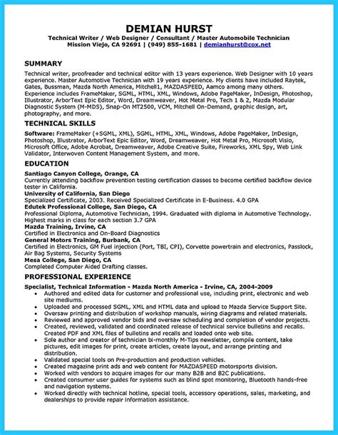 writing  concise auto technician resume