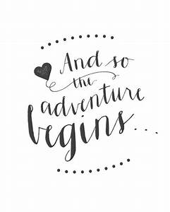 "Printable Wedding Sign - ""And so the adventure begins"
