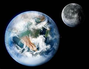 Planet Earth And The Moon Digital Art Illustration Stock ...