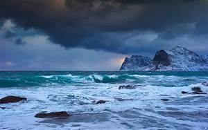 Storm at sea in a cold winter day