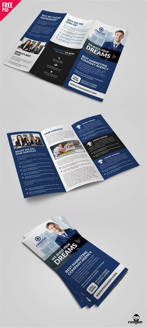 Trifold Brochure Template Free Psd Uxfree Professional Corporate Tri Fold Brochure Free Psd Template