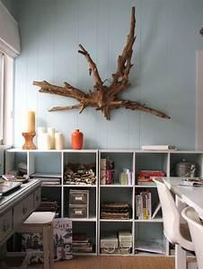 Bois Flotté Décoration Murale : id e d coration maison en photos 2018 d co murale en bois flott lambris bois bleu ciel et ~ Melissatoandfro.com Idées de Décoration