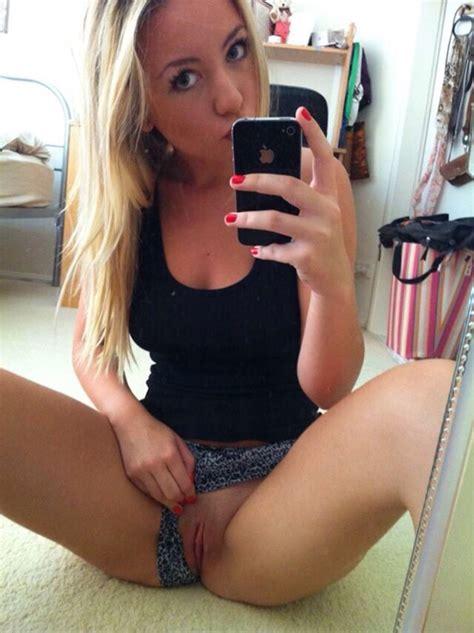 Gorgeous Blonde Showing Peek Of Her Pussy Selfie Pornguy