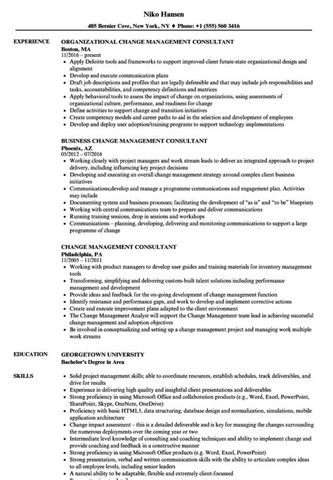 change management consultant resume samples velvet jobs