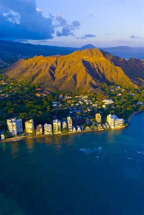 Aerial View Of Diamond Head Mountain Off Waikiki Beach