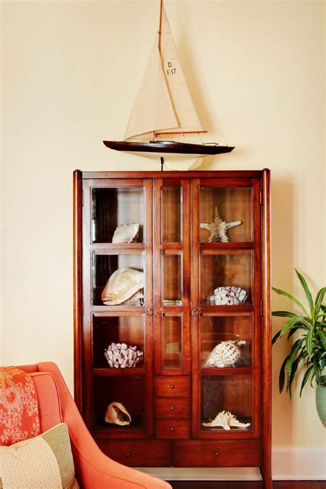 cool curio cabinet  living room traditional  hand