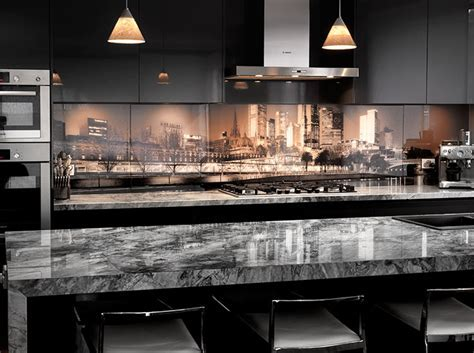 Printed Glass Splashback Kitchen: MELBOURNE SKYLINE: VR