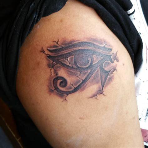 attractive  grey ink horus eye tattoo