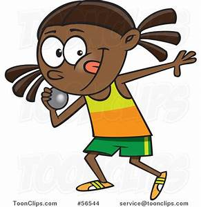 Cartoon Black Track and Field Girl Throwing a Shotput ...