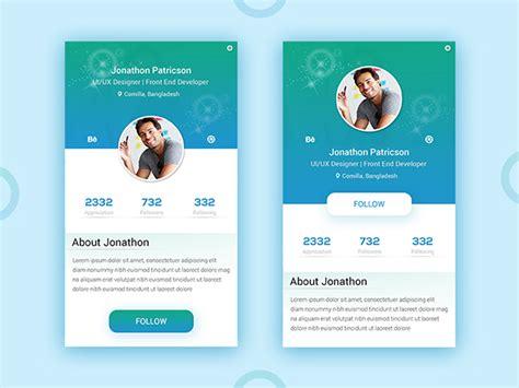 portfolio app user profile uiux design  behance