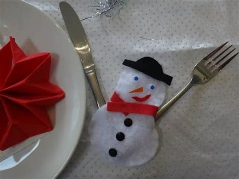 tuto deco table noel no 235 l d 233 co de table porte couvert bonhomme de neige