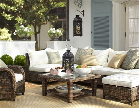 pottery barn outdoor furniture create an inviting outdoor conversation area