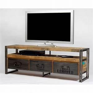 meuble tv industriel pas cher With maison du monde meuble tv 3 meuble tv industriel factory 2 tiroirs origins meubles