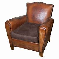 small leather club chair Small French Leather Club Chair at 1stdibs