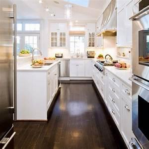 kitchen white cabinets dark wood floors - Kitchen and Decor