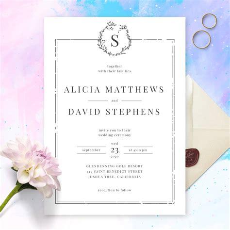 Elegant Borders Black and White Minimalist Wedding ...