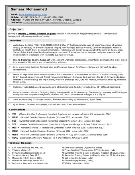 sameer s vmware wintel systems engineer resume 04 2016