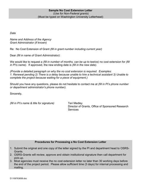 sample  cost extension letter