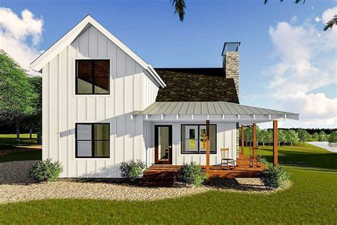 modern farmhouse cabin with upstairs loft 62690dj architectural designs house plans