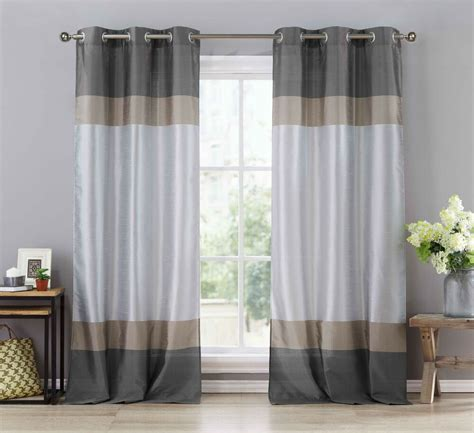 Grey Drapery Panels by Two Silver Gray Taupe Window Curtain Panels Faux Silk