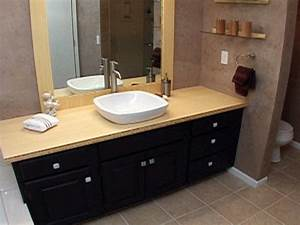 how to create a custom bamboo countertop in a bathroom With bamboo in the bathroom
